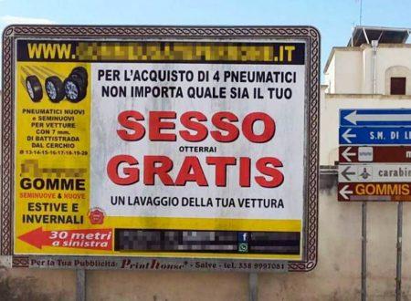 In provincia di Lecce, un gommista pubblicizza la sua attività con un cartellone che è già un cult